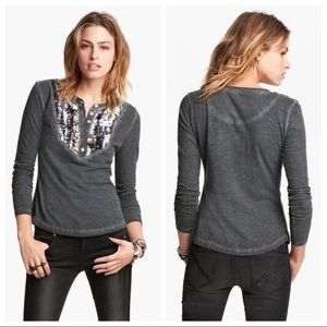 Free People Tiger Eyes Gray Sequin Thermal